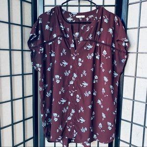 Pleione burgundy floral short sleeve blouse Sz XL